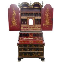 18th Century Gilt and Lacquer Chinoiserie Secretary Bookcase