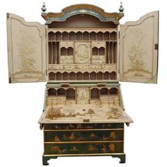 18th Century Lacquer and Gilt Chinoiserie Secretary Bookcase