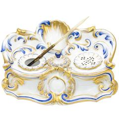 Staffordshire Porcelain Inkwell