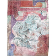 Vintage Abstract Overdyed Carpet