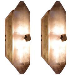 Pair of Diamond Form Smoky Brown Rock Crystal Quartz Wall Sconces