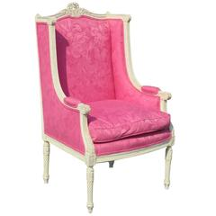Louis XVI Style Distressed Painted Carved Wing Chair