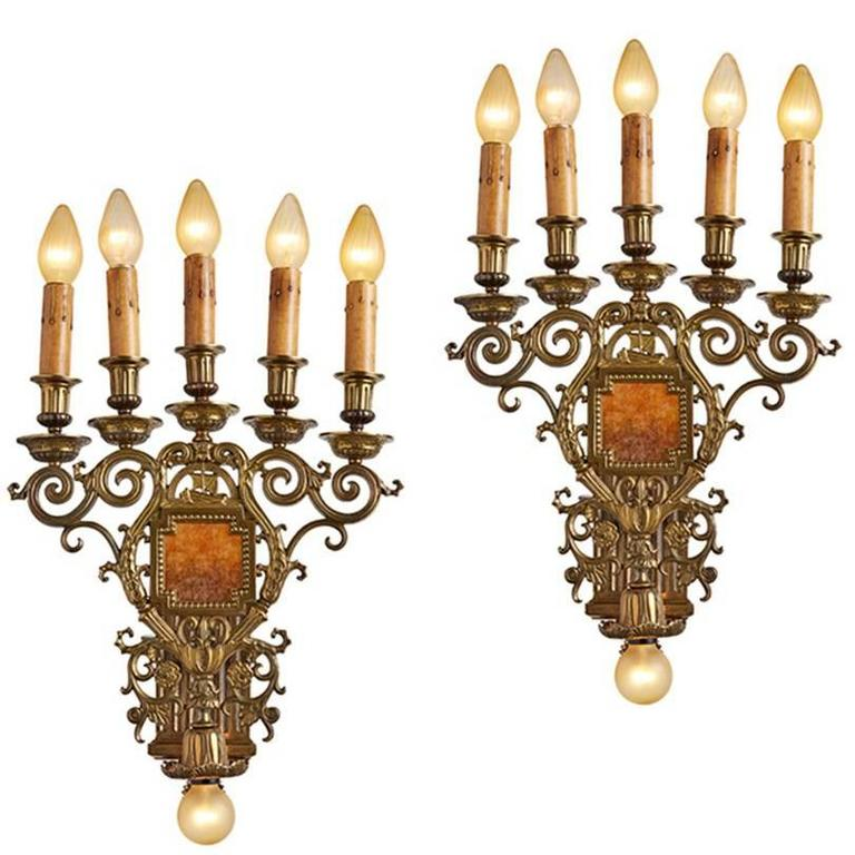 Pair of Monumental Six-Light Candelabra Sconces, circa 1928 For Sale at 1stdibs