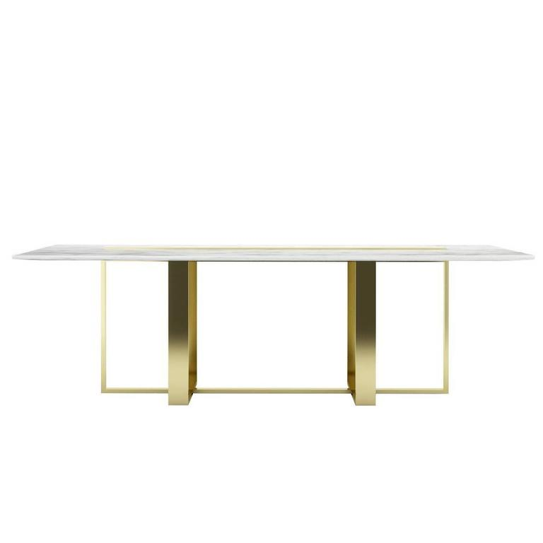 Modern Dining Table Italian Marble and Bass-Plated