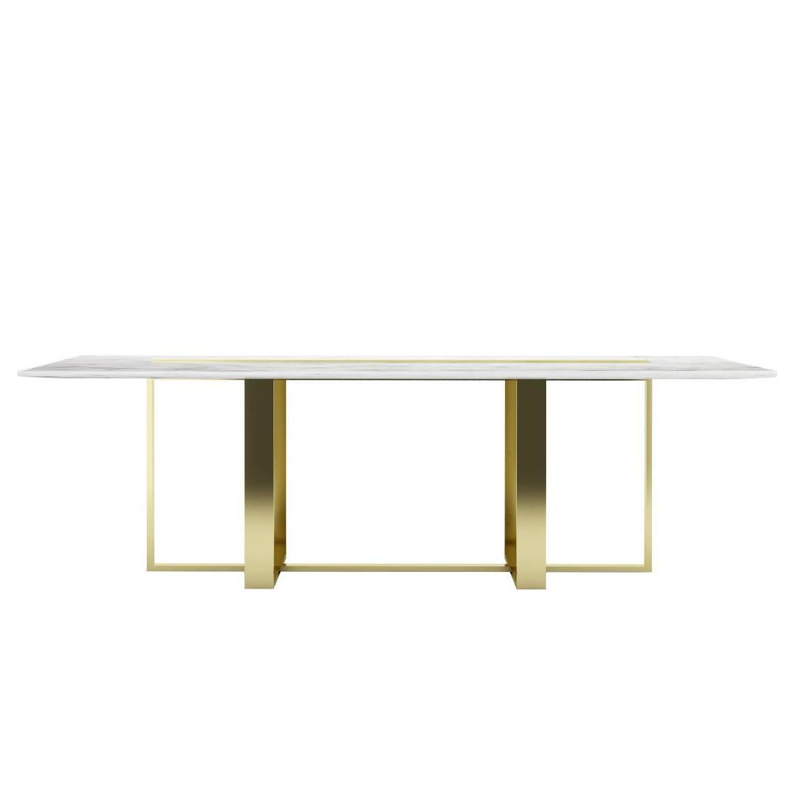 modern dining table italian marble and bassplated