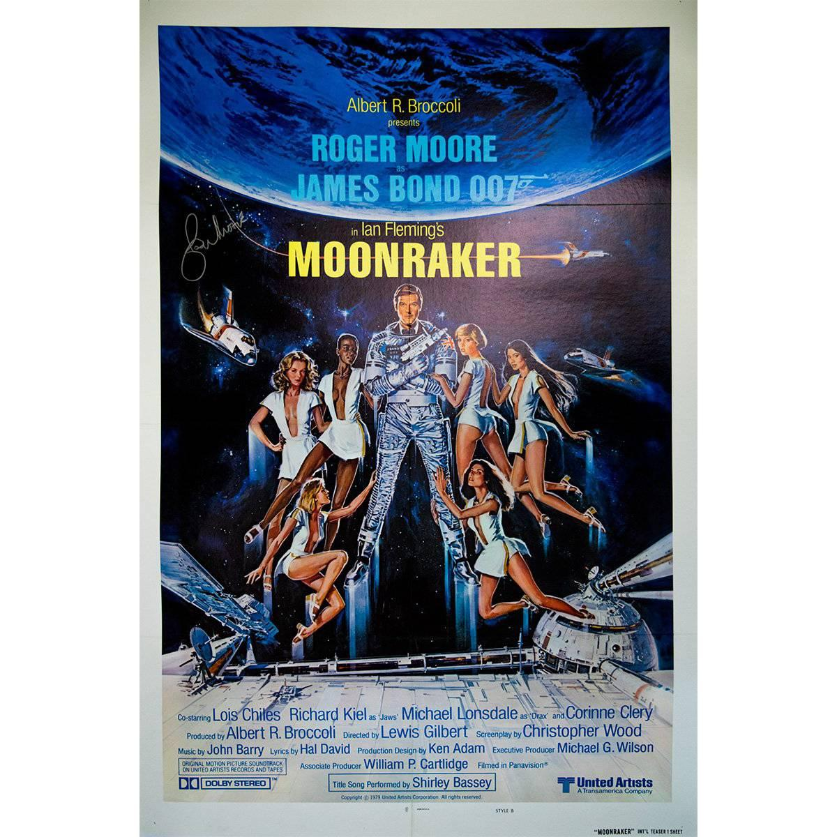 """Hand Signed by Roger Moore, """"Moonraker"""" Film Poster, 1979"""