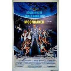 "Hand Signed by Roger Moore, ""Moonraker"" Film Poster, 1979"
