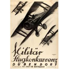 Large Original Swiss Military Flight Competition Poster - Militar Flugkonkurrenz