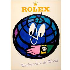Large Original Vintage Rolex Watch Advertising Poster - Watchword of the World
