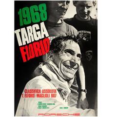 Original Porsche Racing Car Poster for Elford & Maglioli's Targa Florio Victory