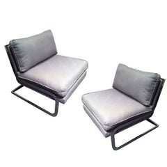 Pair Mid Century Milo Baughman style S shaped Cantilever Club Chairs
