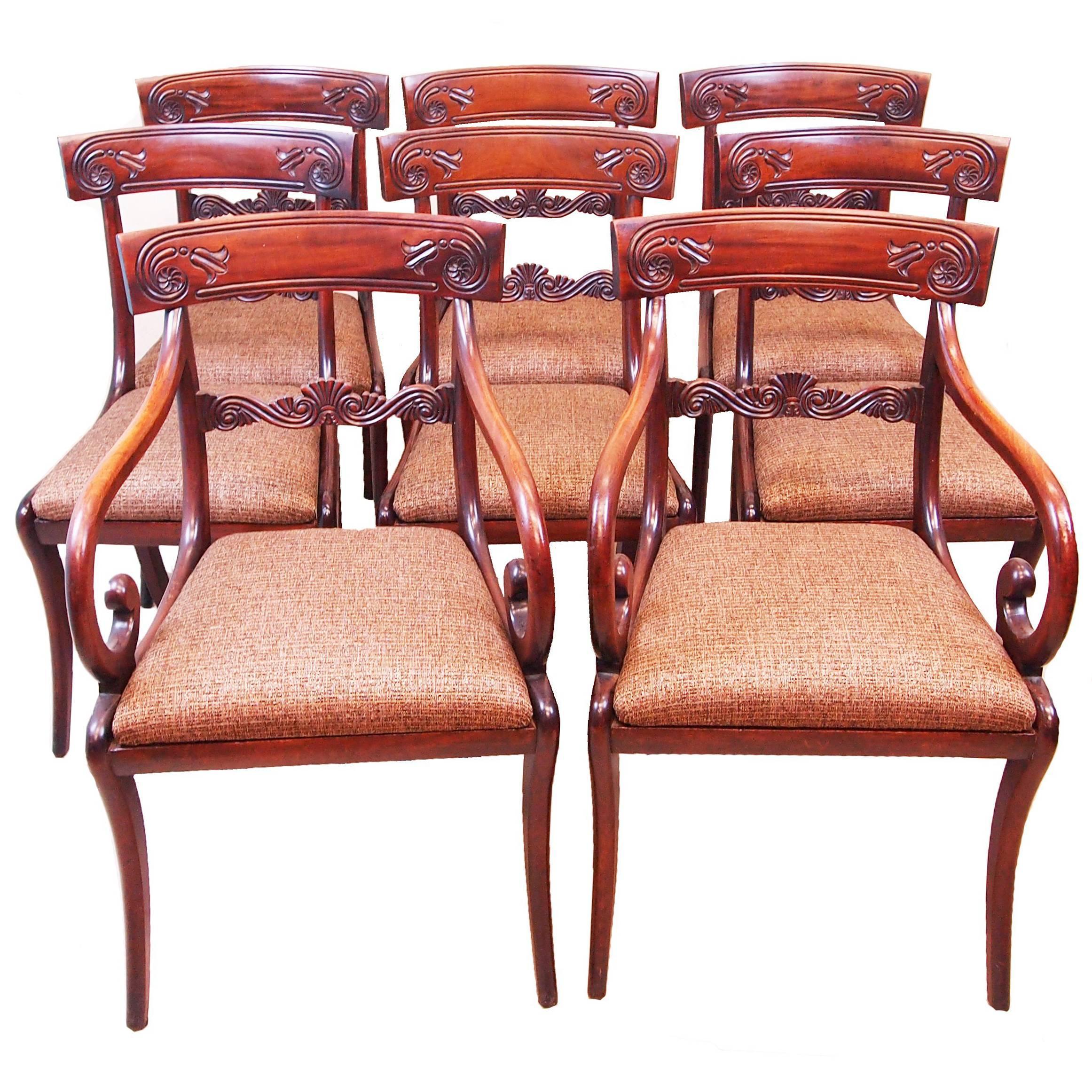 Regency Mahogany Set Of 8 Dining Chairs