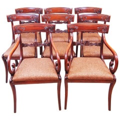 Regency Mahogany Set Of 8 Dining Chairs