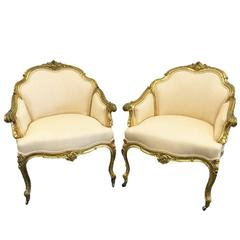 Pair of 19th Century Louis XV Giltwood Bergères