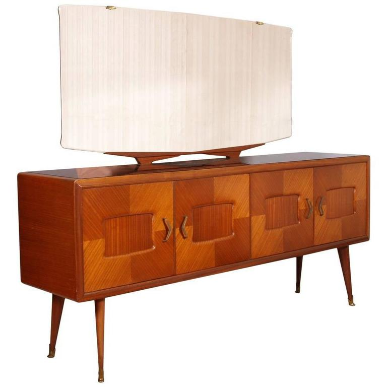 Italian Mid-Century Sideboard Credenza Paolo Buffa Manner Walnut and Rosewood