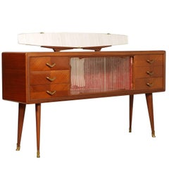 Italian 1940s Sideboard with Mirror Mid-Century Modern in the Manner Paolo Buffa