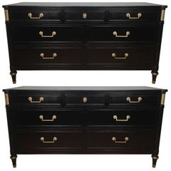 Pair French Directoire Style Ebonized Commodes by Maison Jansen