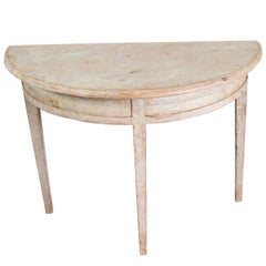 Swedish 19th Century Gustavian Pine Painted Gray Blue Demilune Side Table