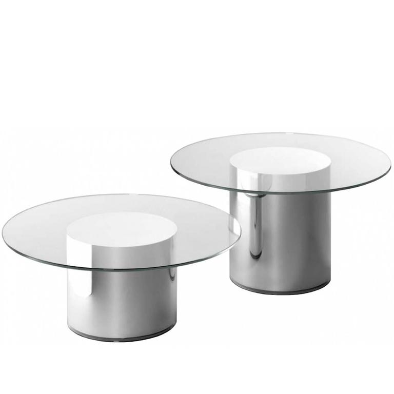 Superior Coffee/Side Table In Transparent Round Glass Top And Cylindrical Mirror  Base For Sale