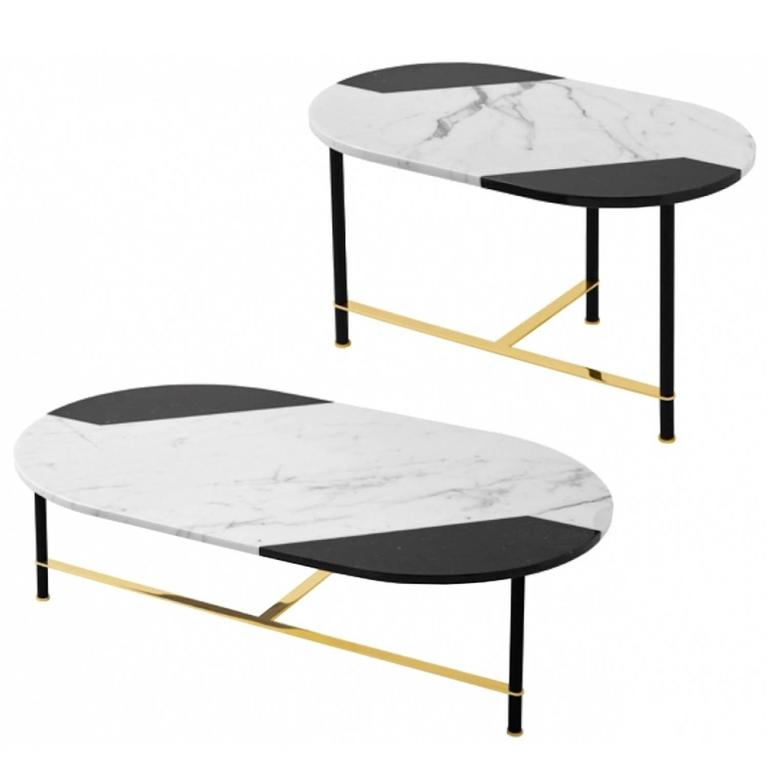 Coffee Table Or Side Table In Black And White Inlaid Marble Top With Brass  Legs 1