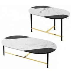 Coffee Table or Side Table in Black and White Inlaid Marble Top with Brass Legs