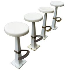 Group of Four Beautiful White Enameled Metal Stools with Footrest, circa 1930