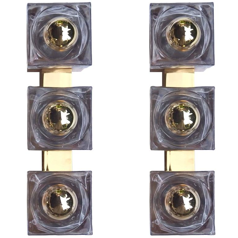 Glass Cube Wall Lights : Cube Wall Lights Brass and Glass For Sale at 1stdibs