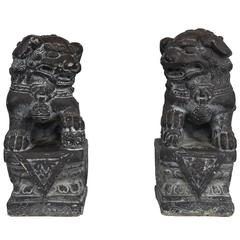 Pair of Cast Stone Foo Dog Statues