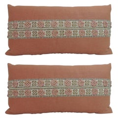 Pair of Antique French Woven Trim Linen Decorative Bolster Pillows