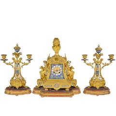 19th Century, French Sevres and Ormolu Clock Set