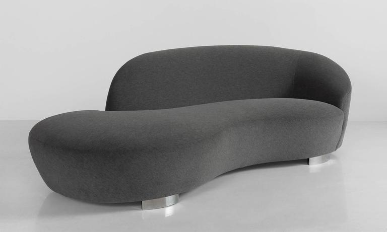"""Tango II"" Sofa no. M760 made by Lazar Industries. Designed in the iconic style of Vladimir Kagan's 'Cloud' Sofa for Directional.  Newly reupholstered in luxurious Alpaca Mohair by Maharam, on chrome base."