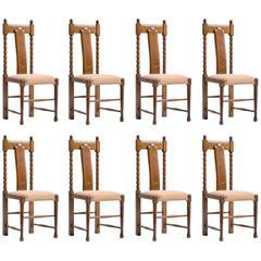 Set of Eight Oak George Walton Dining Chairs