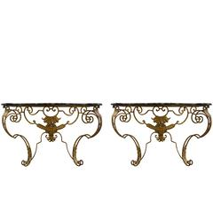 Pair of French Gilt Iron Wall-Mounted Consoles with Faux Painted Marble Top