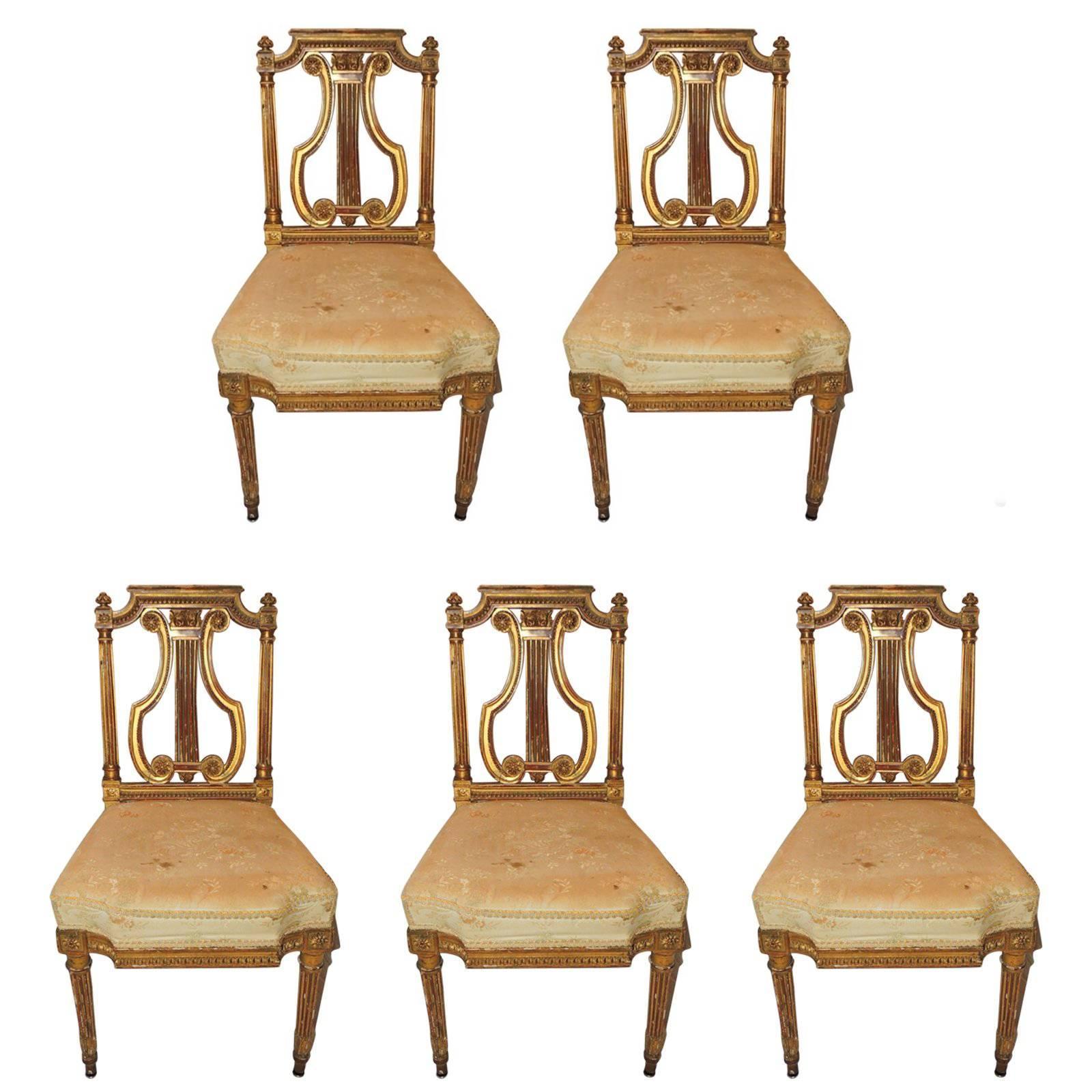 Wonderful Set of Five French Gold Gilt Carved Harp Lyre Back Regency Side Chairs