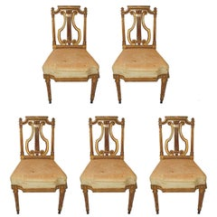 Wonderful Set of Five French Gold Gilt Carved Harp Lyre Back Regency Side Chairs
