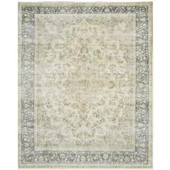 Large Distressed Hand-Knotted Persian Kerman Rug