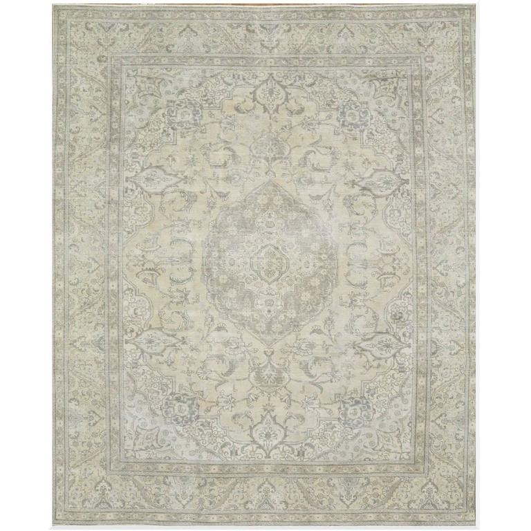 Large Distressed Hand-Knotted Persian Tabriz Rug