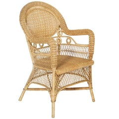French Provençal Curved Bamboo Rattan Armchair, 1950s in Franco Albini Manner