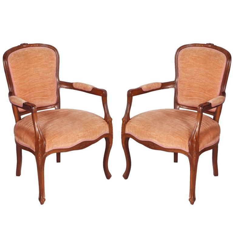 Early 20th Century pair Art Nouveau armchairs hand carved Walnut original Velvet For Sale