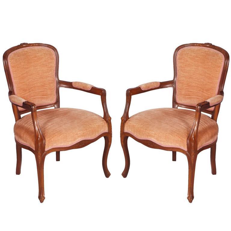 Early 20th Century pair Art Nouveau armchairs hand carved Walnut original Velvet