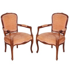 Venice 1910s Art Nouveau armchairs hand carved Walnut original Velvet