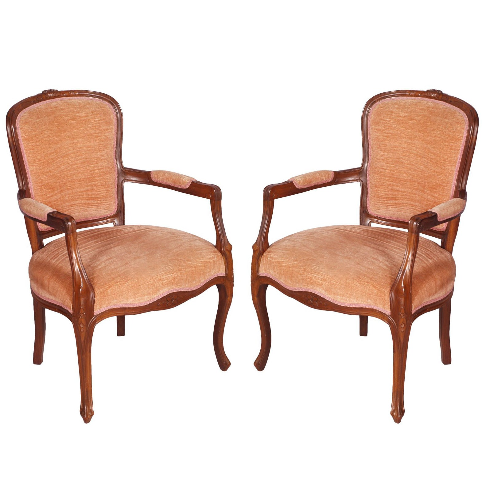 Venetian 1910s Art Nouveau armchairs in hand carved Walnut with original Velvet