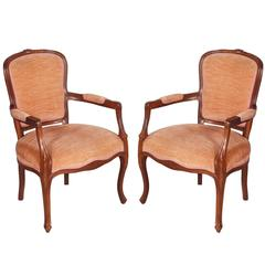 Early 20th Century pair Art Nouveau armchairs hand carved Walnut original Velvet