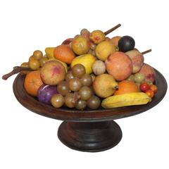Monumental Collection of 42 Pieces of Stone Fruit on Wood Pedestal