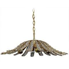 Austrian Vintage Crystal Glass and Gilt Brass Ceiling Light Pendant Chandelier