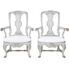 Pair of 19th Century Painted Swedish Decorative Armchairs