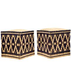 Pair of Moroccan Wicker Stools with Black Decorations, Set of two