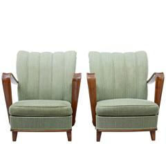Pair of 1960s Scandinavian Birch Modern Armchairs