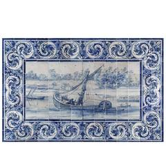 18th Century Portuguese Mural with Boat in River Bank