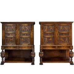 Fine Pair of Late Art Deco Swedish Carved Birch Cabinet on Stands